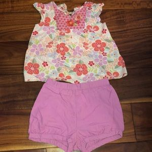 Gymboree floral outfit with shorts